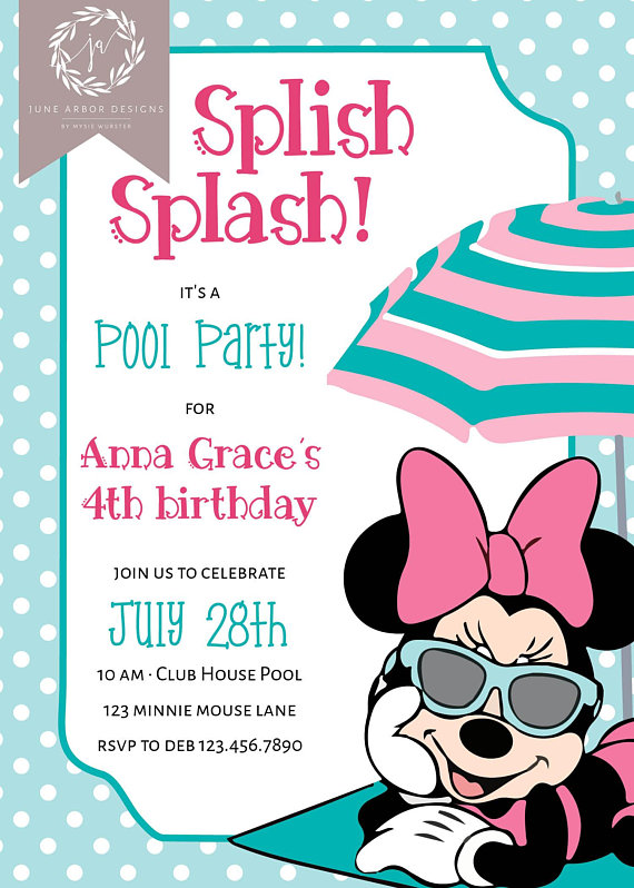 Minnie Mouse Birthday Invitation For A Pool Party