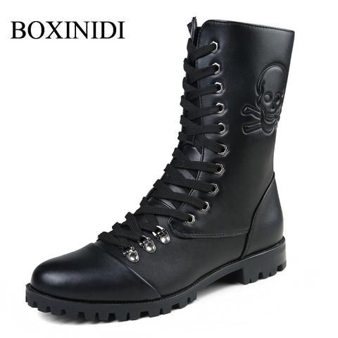 6f1b8c29efe Men s Fashion High Lace-Up Skull Print Waterproof Motorcycle Boots ...