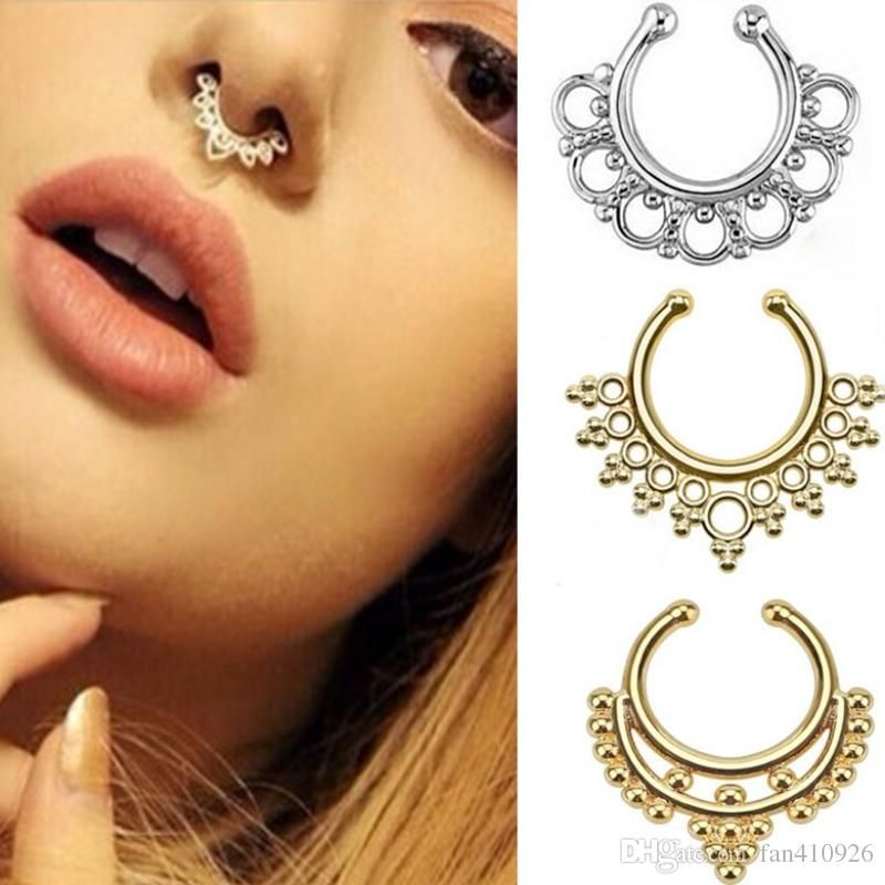 Top Sale Fake Nose Ring Jewelry Fake Septum Piercing Clicker Faux