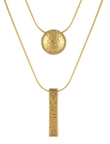 House Of Harlow Scutum Double Pendant Necklace in Metallic Gold 8GDYemVb