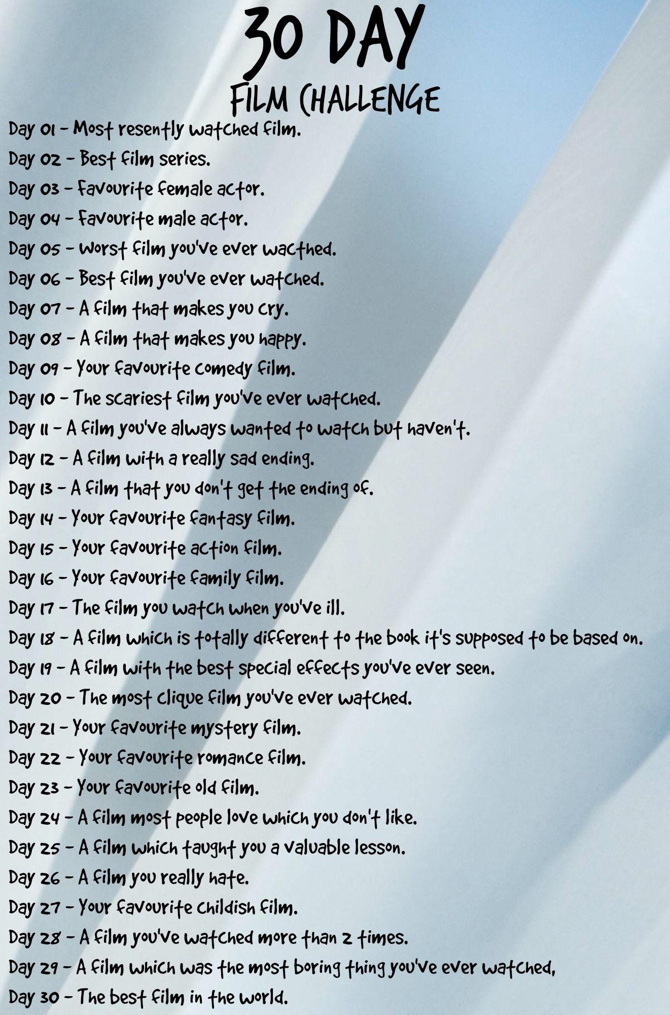 30 Days Film Challenge 30 Day Challenge Journal Challenges 30 Day Song Challenge