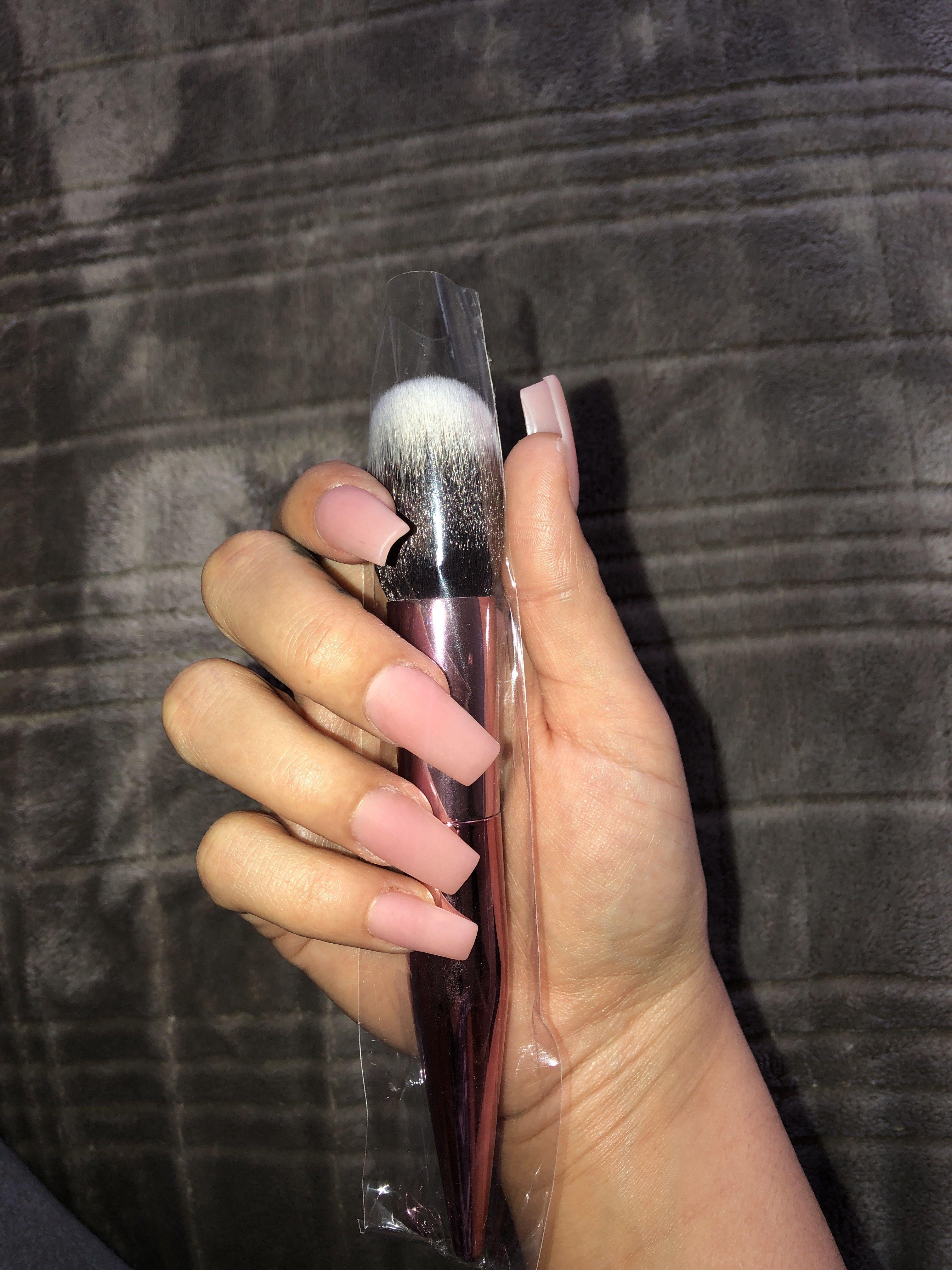 Pink Acrylic Powder Clear Matte Gel Top Coat No Polish Skinny Square Shape Medium Length Cute Acrylic Nails Matte Gel Square Nails