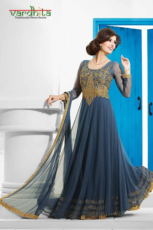 Grey color net fabric gown with detailed handwork - Ready to wear ...