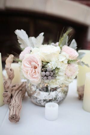 silver and pink wedding style flowers centrepiece brides of adelaide magazine