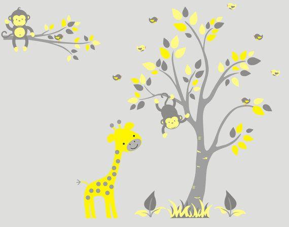 Safari Wall Decals Baby Nursery Wall Decor Yellow Animal Wall Decals Zoo Animal Wall Art Yellow Color Shades Mural 83 X 95 Animal Wall Decals Baby Nursery Wall Decor Jungle