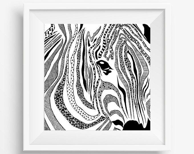 Line Drawings Of African Animals : Zebra african animal zentangle tribal native aboriginal