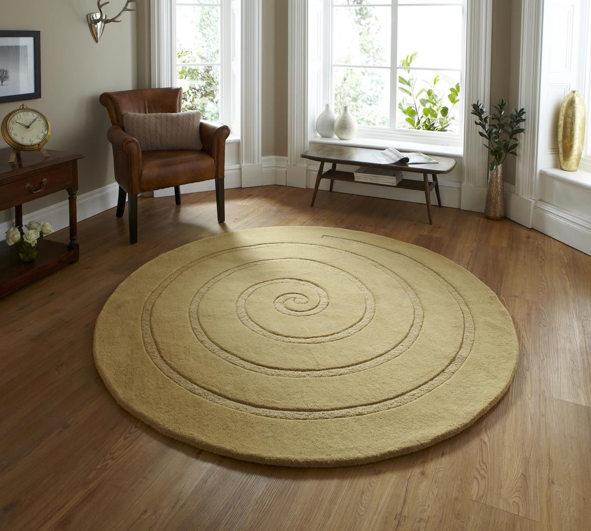 spiral gold circle rug contemporary luxury wool circular rugs