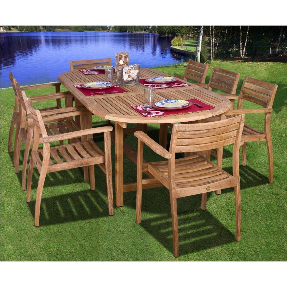Renaldo 9 Piece Teak Wood Outdoor Table And Chairs Set X5278 Lamps Plus In 2021 Patio Dining Set Teak Outdoor Beachfront Decor