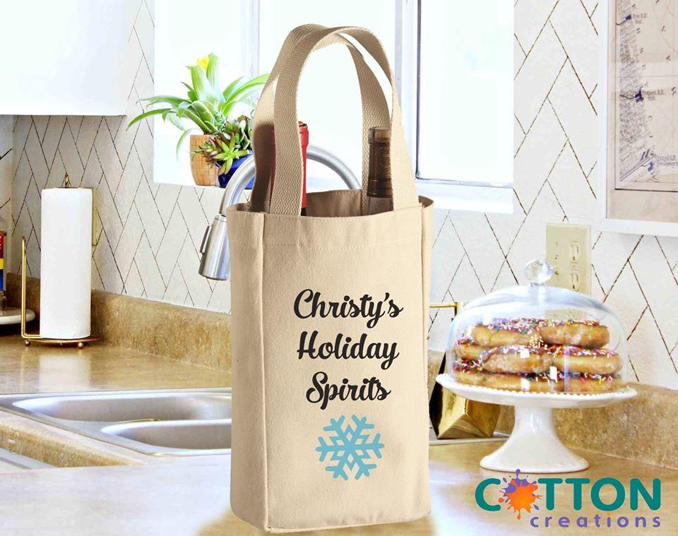 Customize 10oz Double Bottle Wine Tote Bag Cotton Creations Wine Tote Canvas Wine Tote Wine Tote Bag