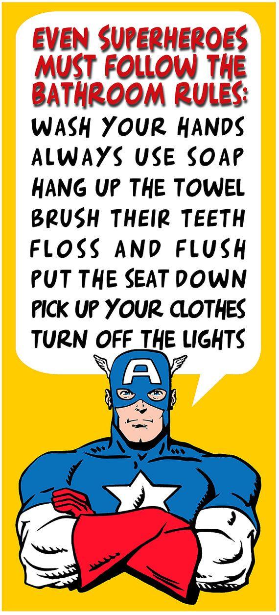 Bathroom Decor Personalized Print Batman Brush Your by Woofworld ...