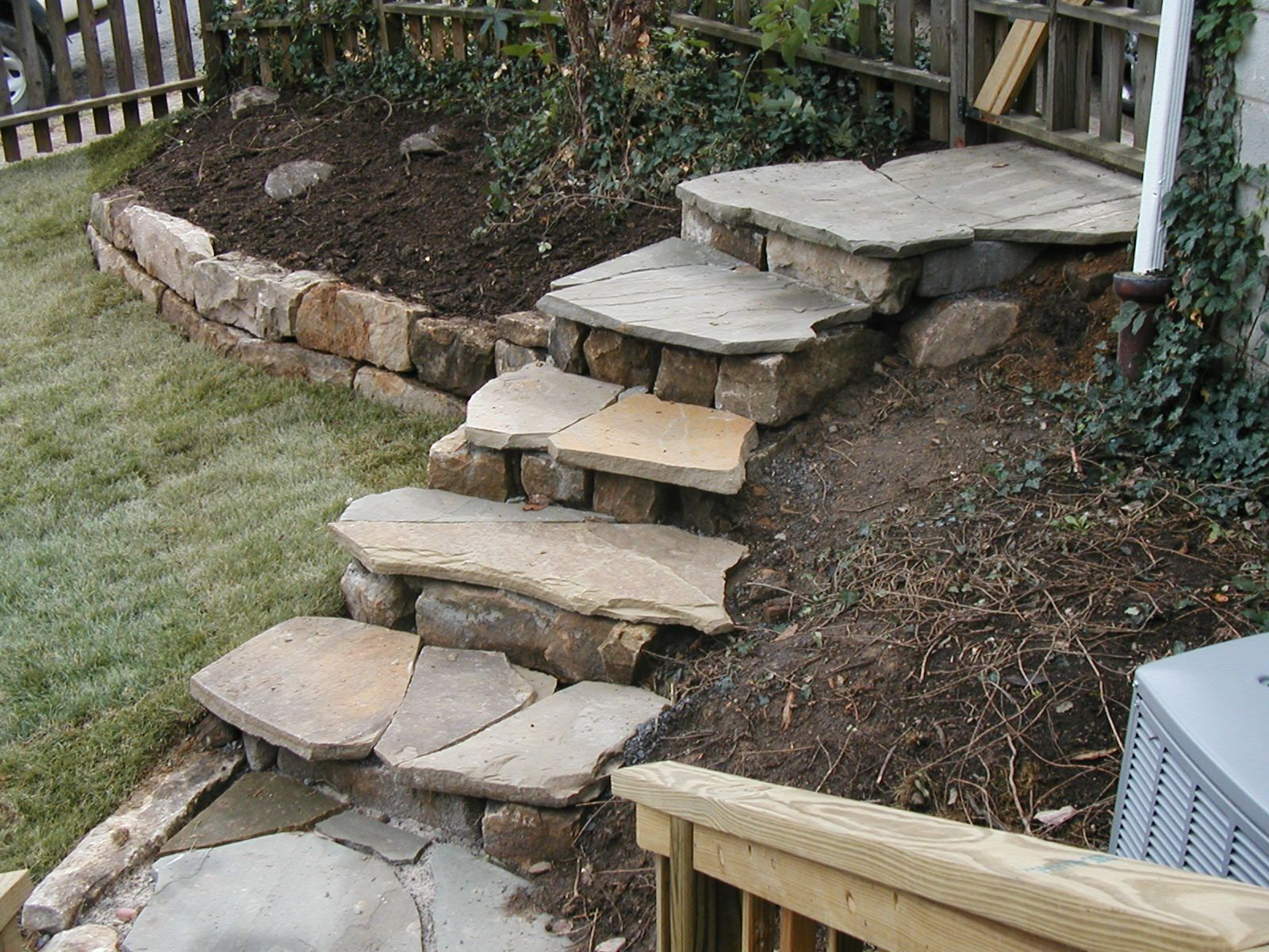 how to build flagstone steps on a slope