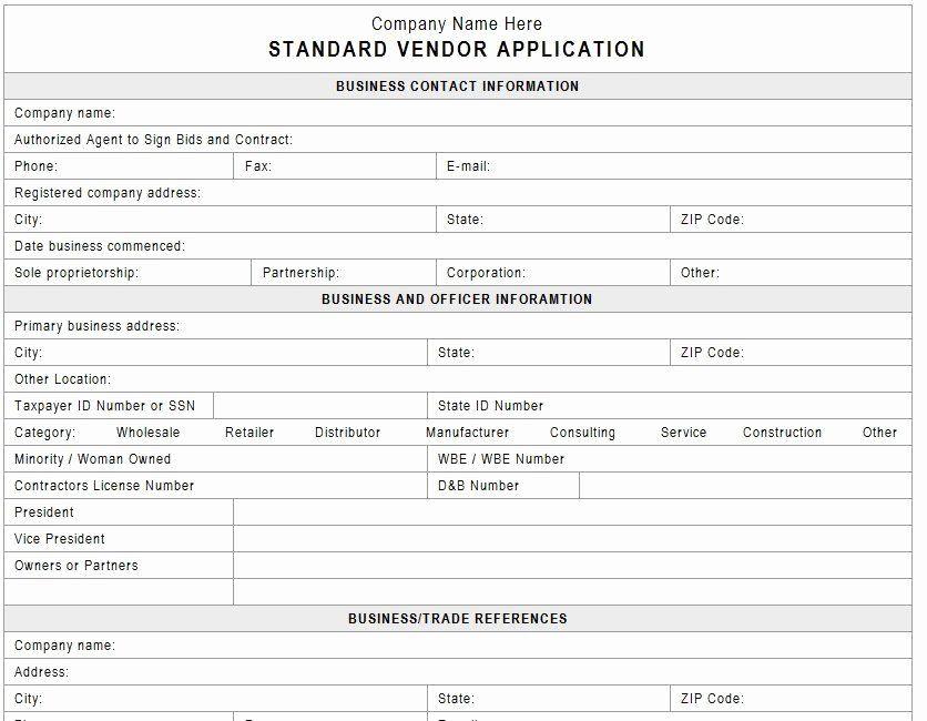 Internal Application Form Awesome Vendor Application Template