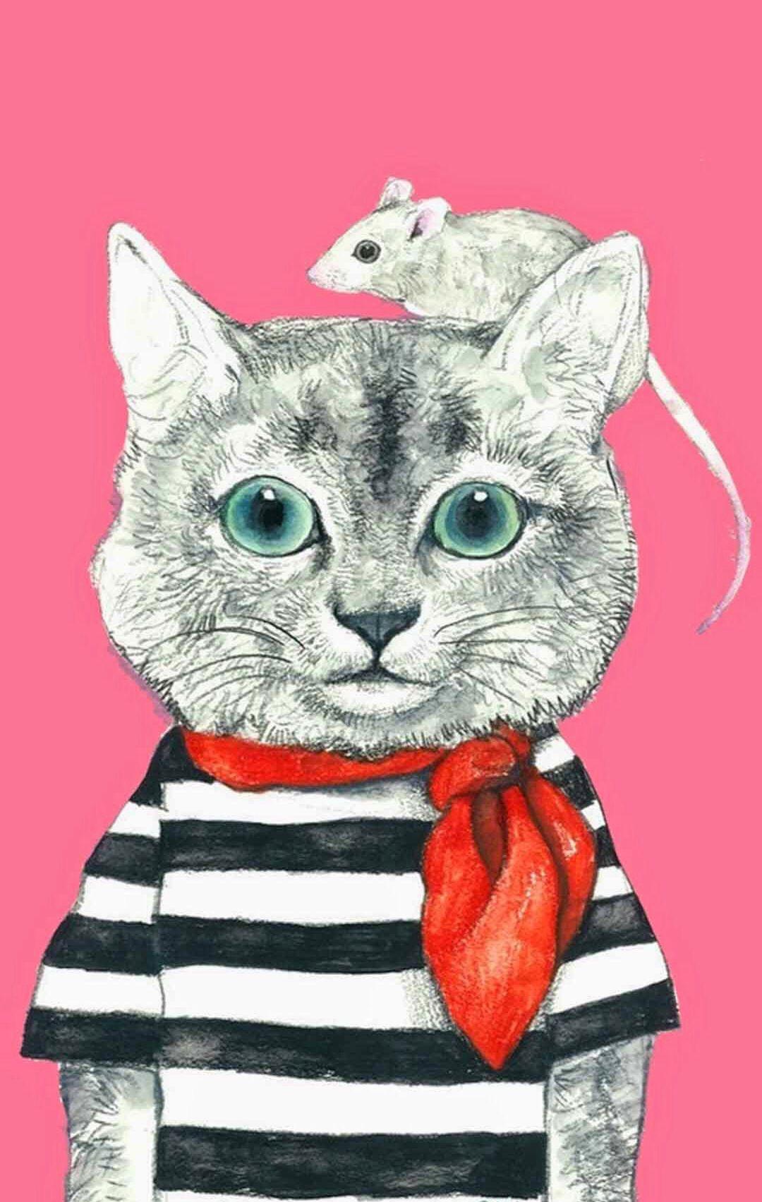 iPhone wallpaper Cats illustration, Cat painting, Cat