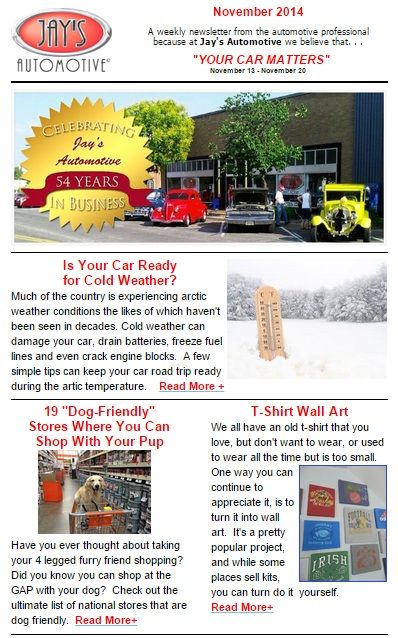 """Have you ever wondered if you could shop with your dog? Looking for a new #Christmas #tradition? Or perhaps, you just got a new #smartphone, and are wondering what to do with the old #cell! All of these are great questions and will be answered in our #weekly #newsletter """"Your Car Matters!""""  Ohhh, and just in case you need a #pumpkinbread recipe -- it's a must read from Jay's Kitchen!"""