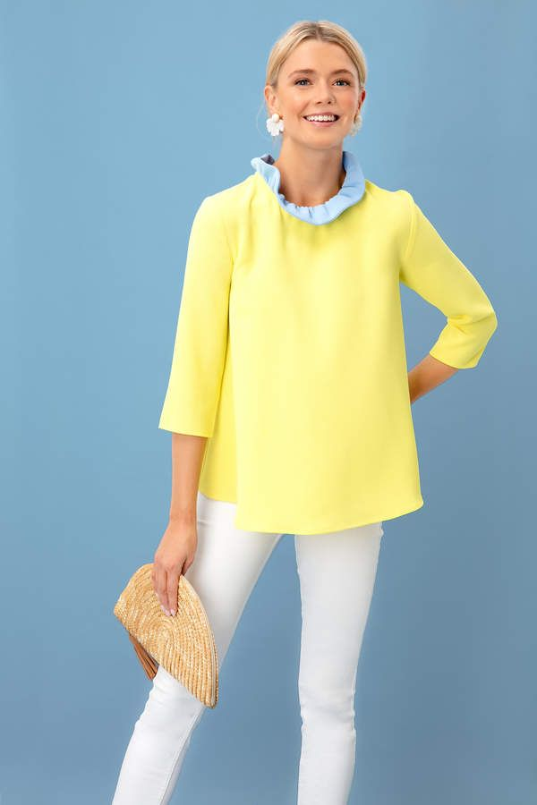 9c53cb37115e36 Pomander Place Yellow Color Block Faye Blouse in 2019 | Products ...