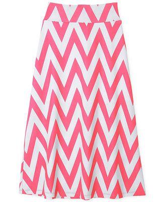 BCX Girls' Chevron-Print Maxi Skirt