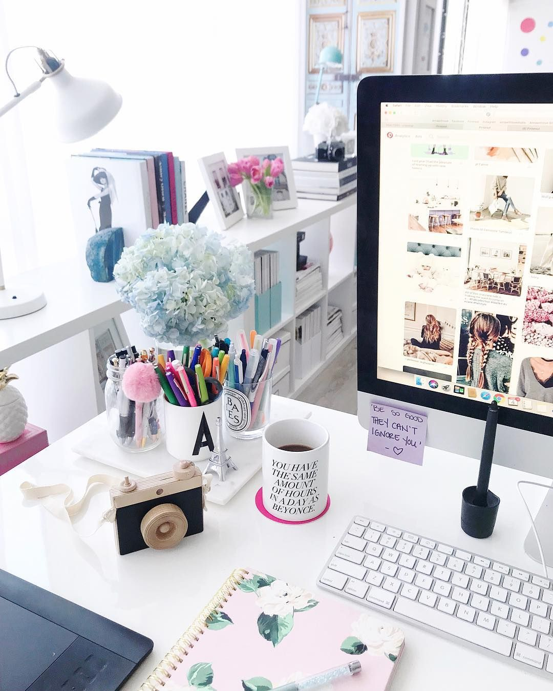 See More Via Instagram Annawithlove Home Office Office Goals Camera Blooms Photographer Life Desk Home Office Decor Office Desk Decor Work Space Decor