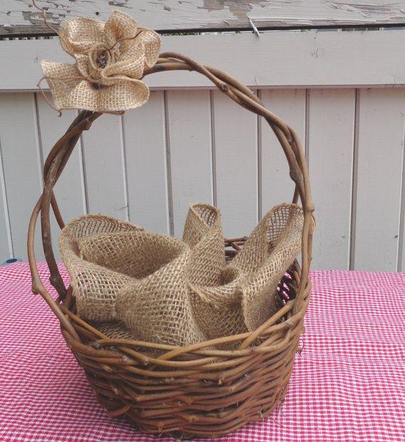 Bridal Shower Gift Basket Climbing On House Halloween: Rustic Twig Basket Burlap Rose Centerpiece Table Decor