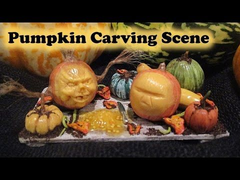 Miniature polymer clay halloween pumpkin carving scene for Pumpkin sculpting tutorial