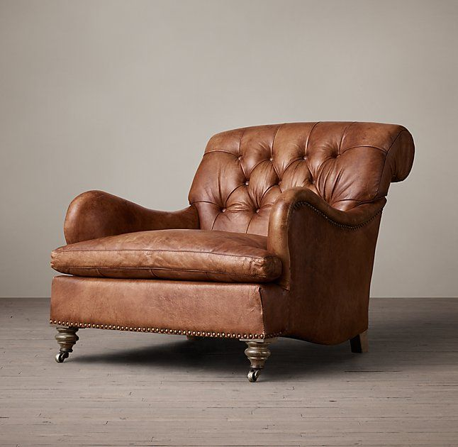 faux leather club chair and ottoman tobacco color study vintage chairs for sale brown