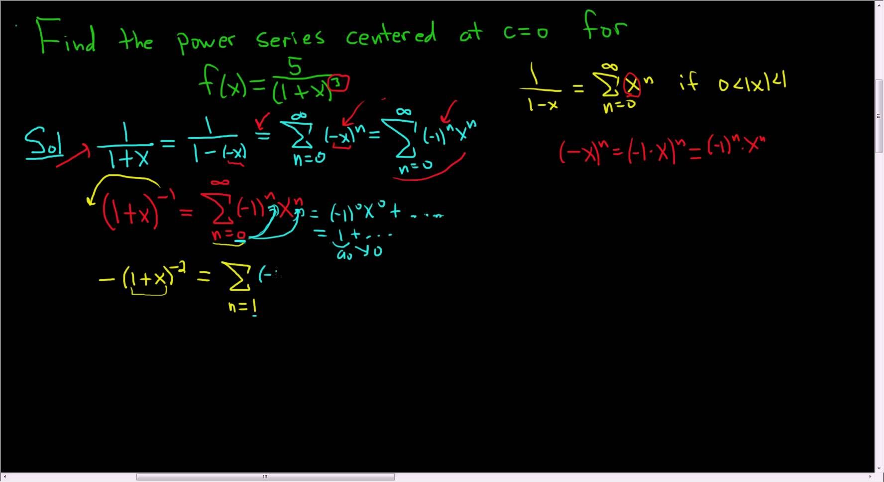 How To Find A Power Series By Differentiating Math Videos
