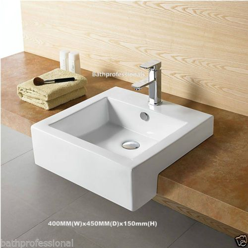Basin Sink Stylish Square Semi Recessed Vanity Over Countertop 440x450x150mm Ebay Basin Sink Sink Small Bathroom Layout