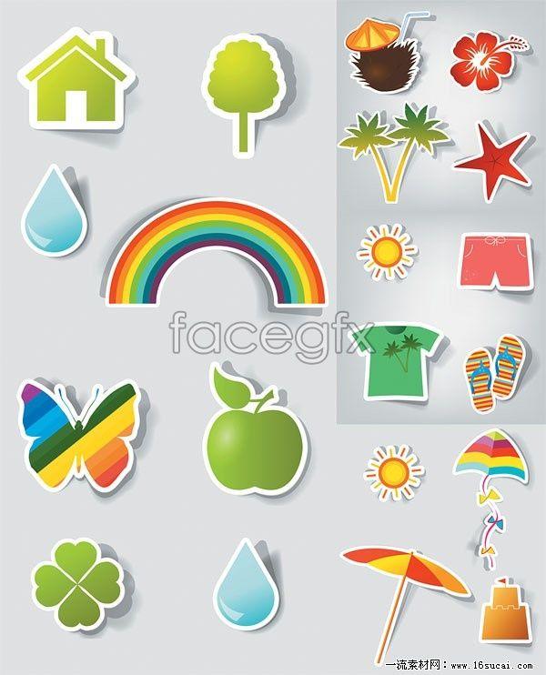 Cartoon stickers vector icon