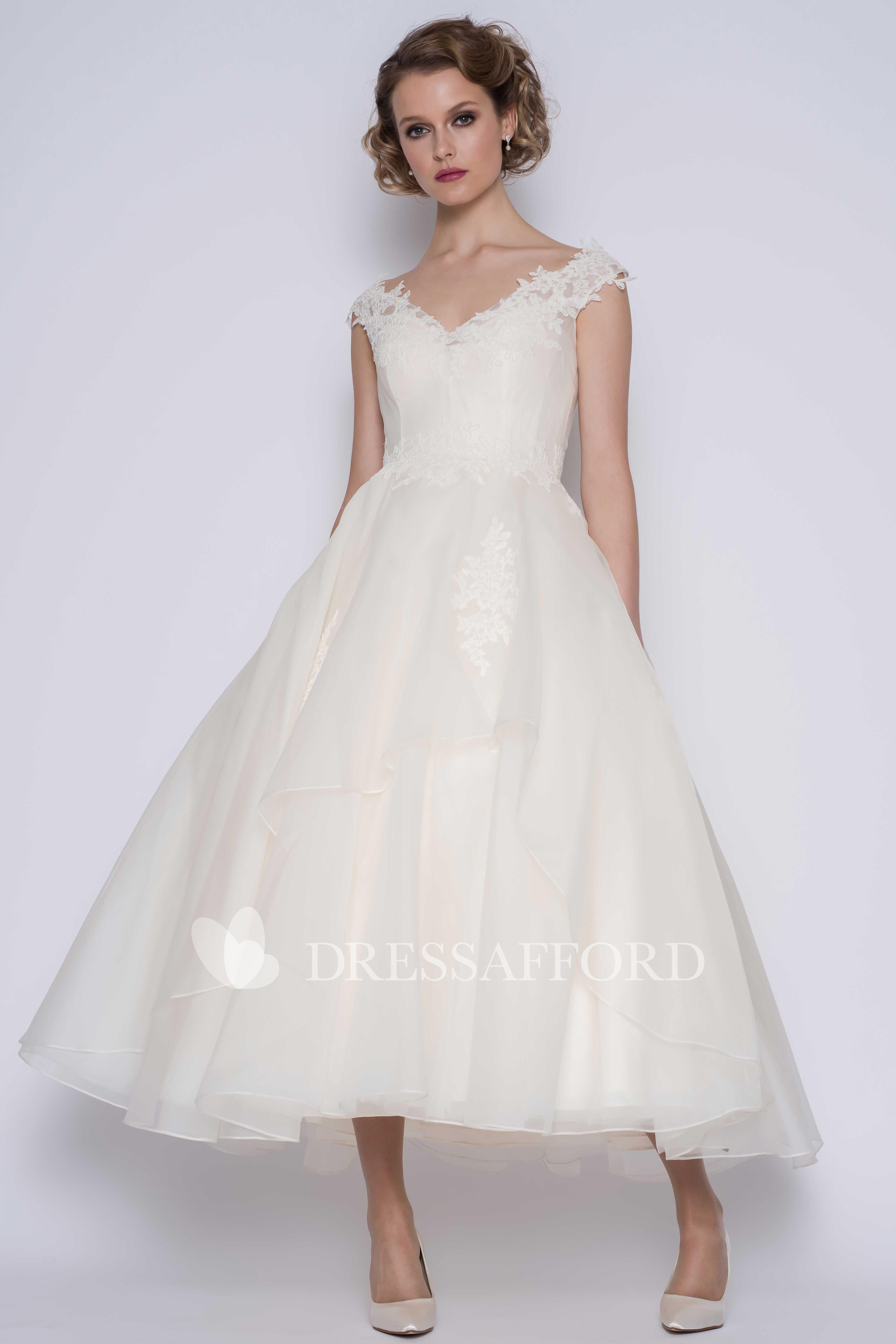 Elegant Organza Ball Gown V Neck Cap Sleeve Ankle Length Wedding Dress Dress Afford Ankle Length Wedding Dress Wedding Dresses 50s Wedding Dress Types [ 6173 x 4116 Pixel ]