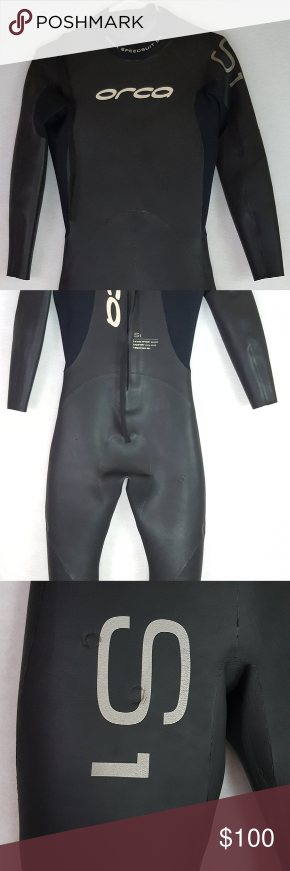 6de6f28a19 Orca S1 Wetsuit Womens Small Black Fitted Full Bod Orca Women s Wetsuit  SpeedSuit S Black Rubber