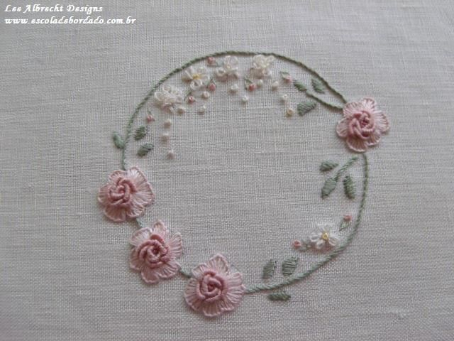 Bullion knot and buttonhole roses embroidery circles
