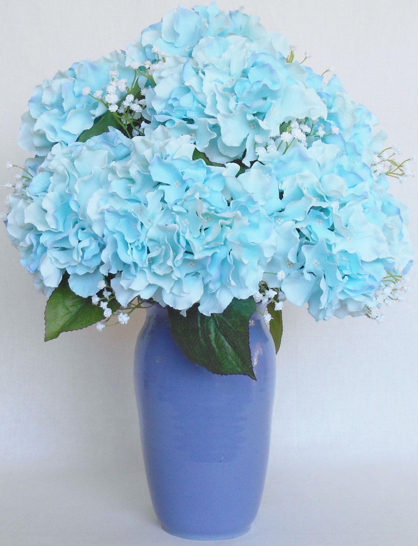 Artificial Flower Arrangement Tiffany Blue Hydrangea White