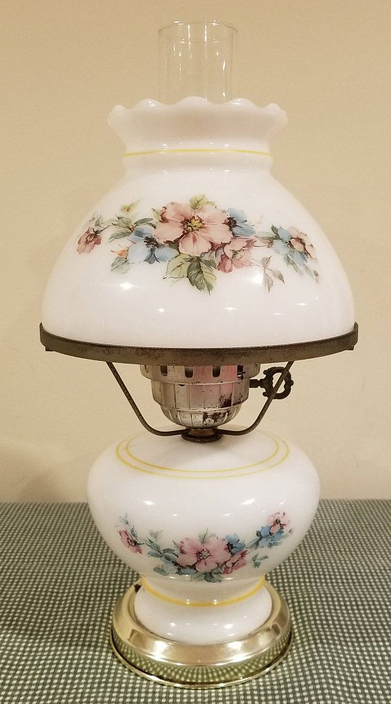 Vintage Gwtw Gone With The Wind Thick White Milk Glass Pink Vintage Hurricane Lamps Vintage Lamps Antique Oil Lamps