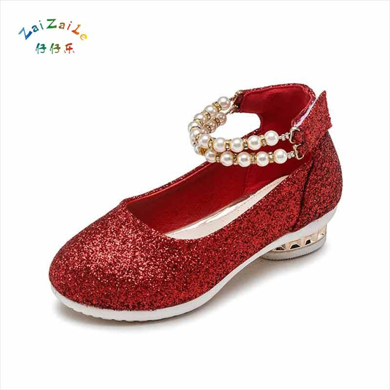 6ad54afbb19f Girls 2018 Autumn section Leather shoes Bright leather Princess Child High  heels Pearl Soft bottom Dance shoes. Yesterday s price  US  24.68 (21.26  EUR).