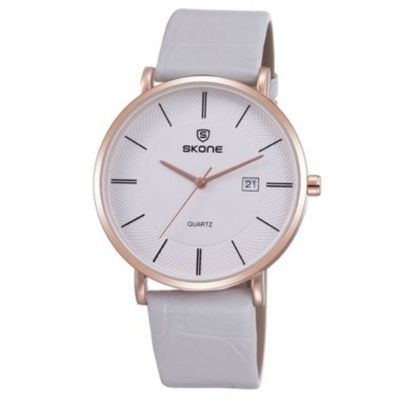 edb0c223e25 Relógio Skone Analógico 9307BG Branco Este modelo é ideal para quem procura  um relógio versátil