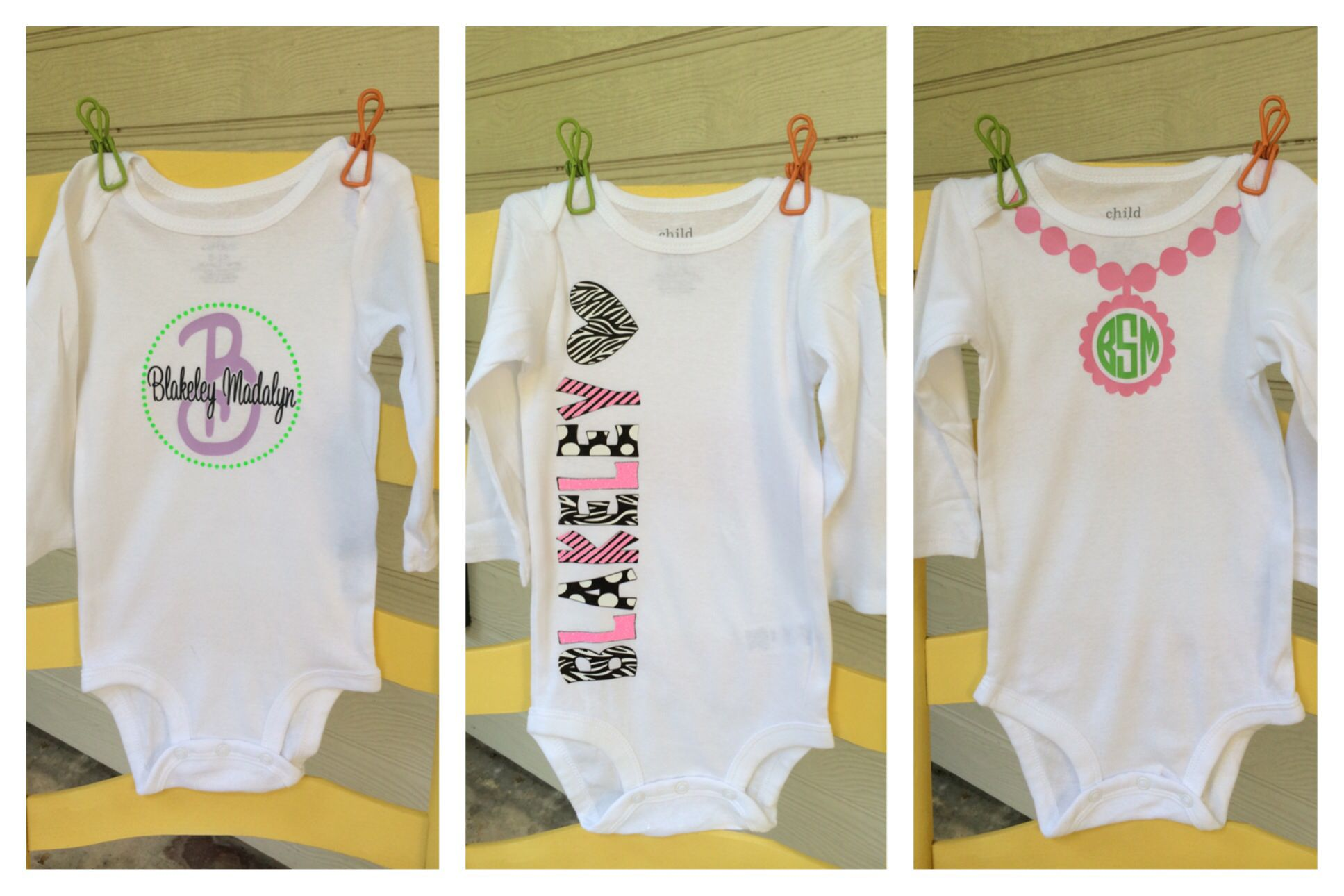 Heat transfer vinyl baby onesies. Made with silhouette cameo ...