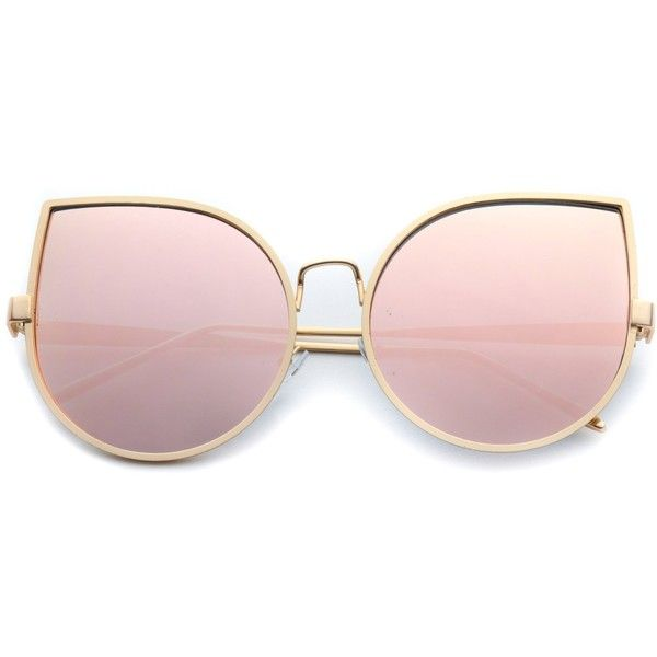 d8c83eaef2 Ambria oversized delicate cat eye pink lens sunglasses for women ( 45) ❤  liked on Polyvore featuring accessories