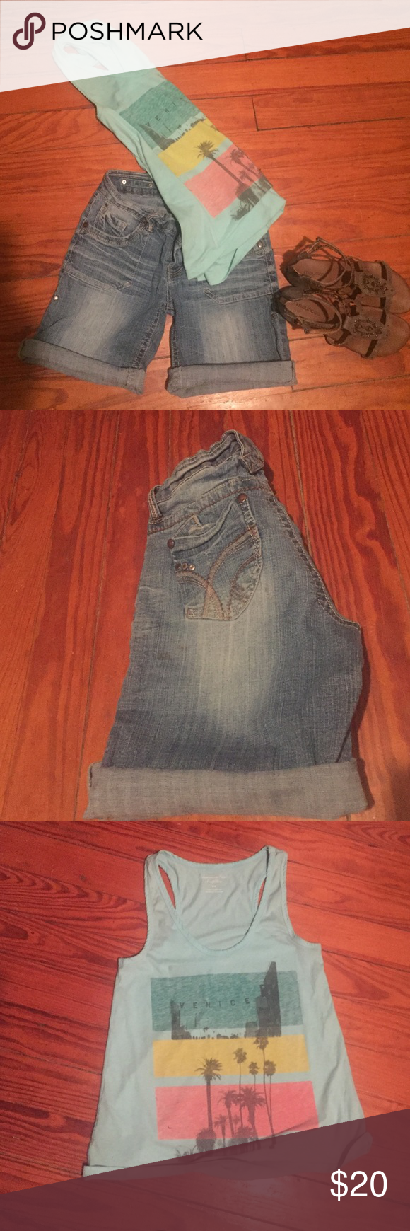 Shorts and tank Pork chop style hydraulic shorts. Can be worn rolled or unrolled sz 5/6 (they are stretchy and fit nice) $12. A&E tank, worn maybe 3 times, was a little to oversized for me but looks super cute with loud bralette sz Med $10. Purchase both for $20 American Eagle Outfitters Tops Tank Tops