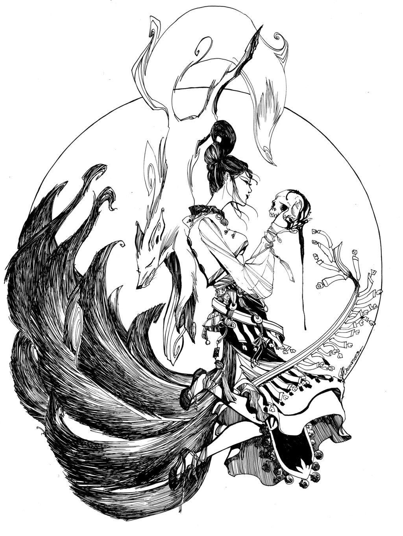 Nine Tailed Fox By Arielakris On Deviantart Fox Tattoo Japanese Tattoo Art Art Tattoo
