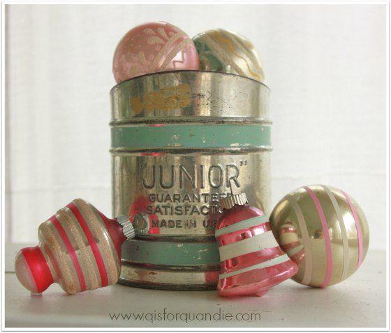vintage Christmas ornaments. Makes my heart melt...LOVE!