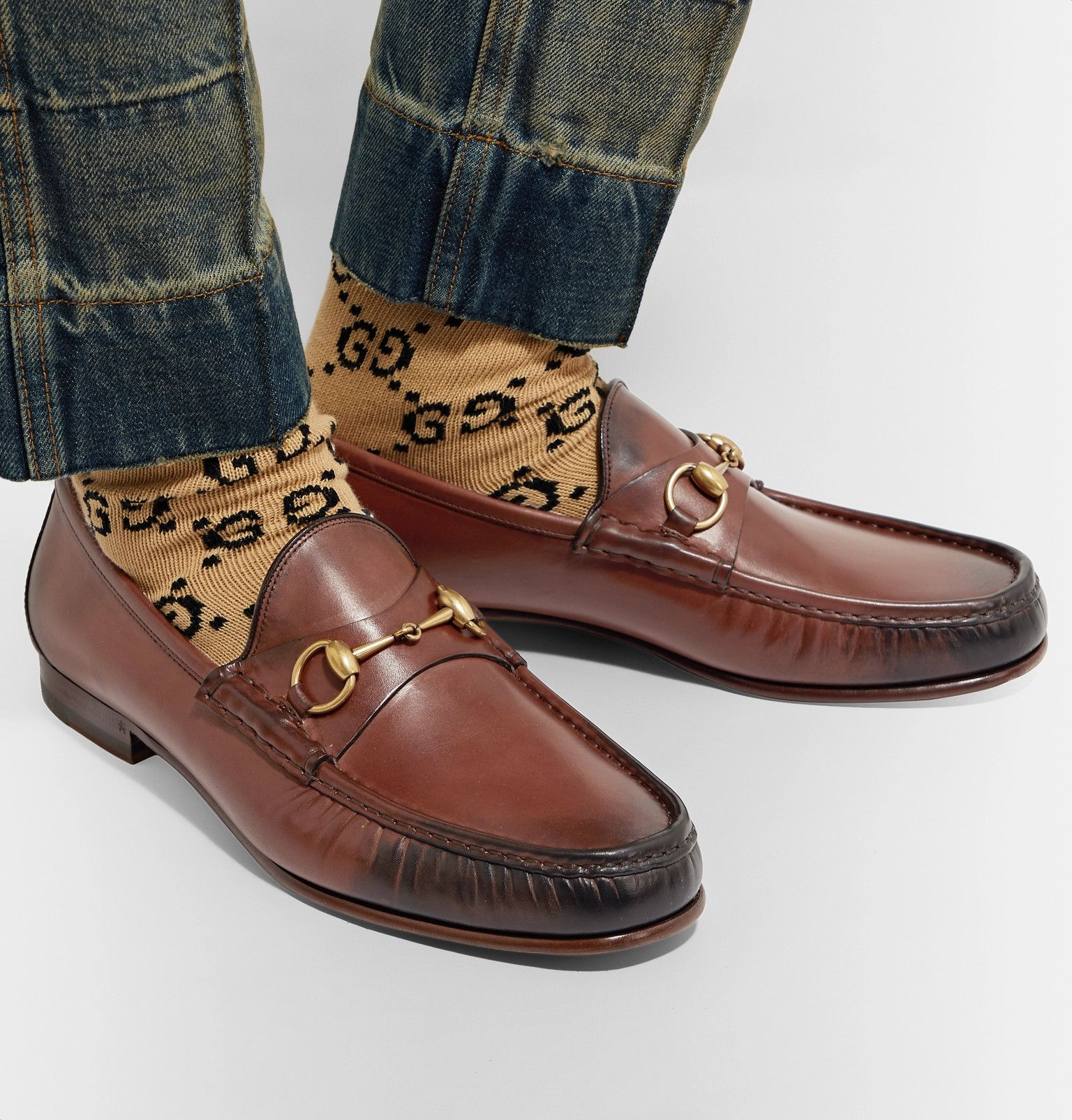 491fd208f Gucci - Roos Horsebit Burnished-Leather Loafers | Fashion SS18 ...