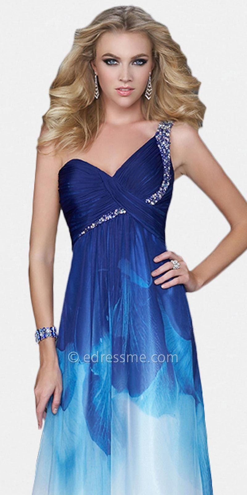 One shoulder blue ombre prom dresses by la femme at edressme usmc