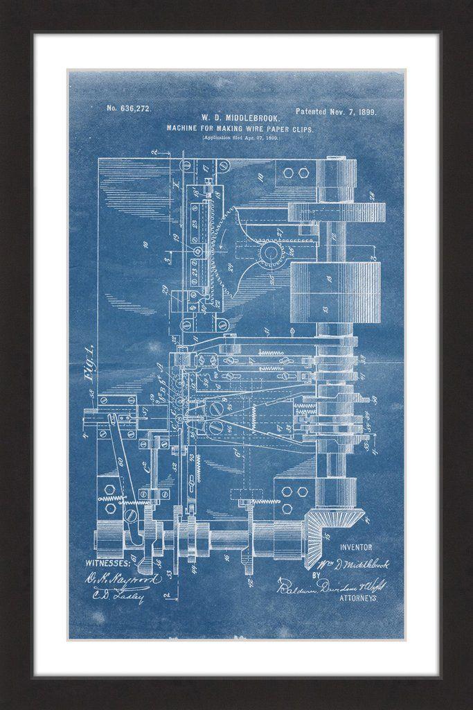 Paper clip 1899 blueprint paper clip paper artwork and giclee print paper clip 1899 blueprint malvernweather Gallery