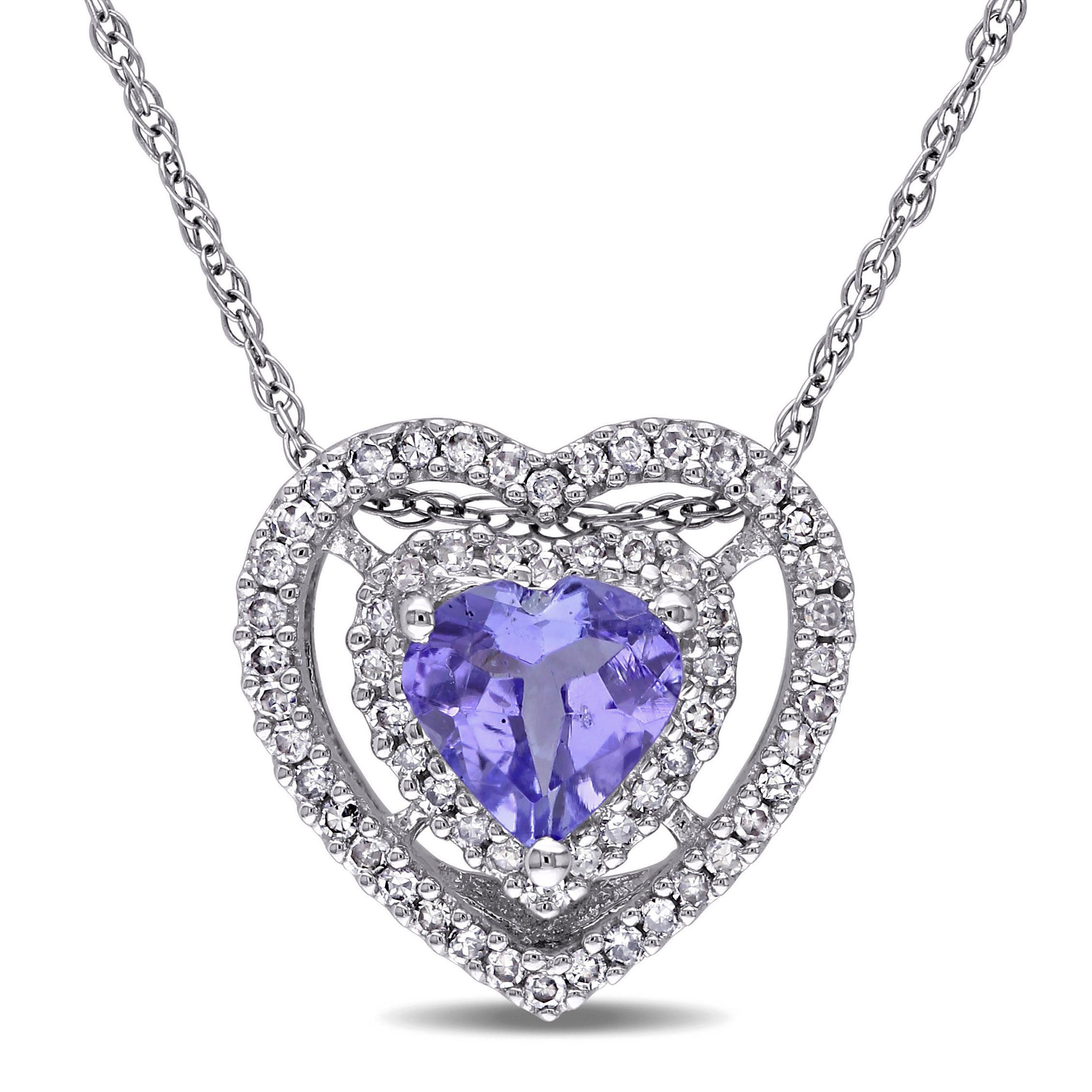 Miadora k white gold tanzanite ct tdw diamond heart necklace
