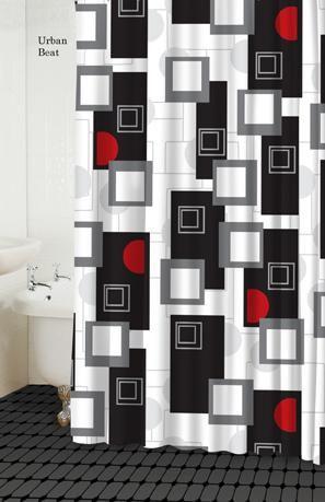 urban beat red shower curtain
