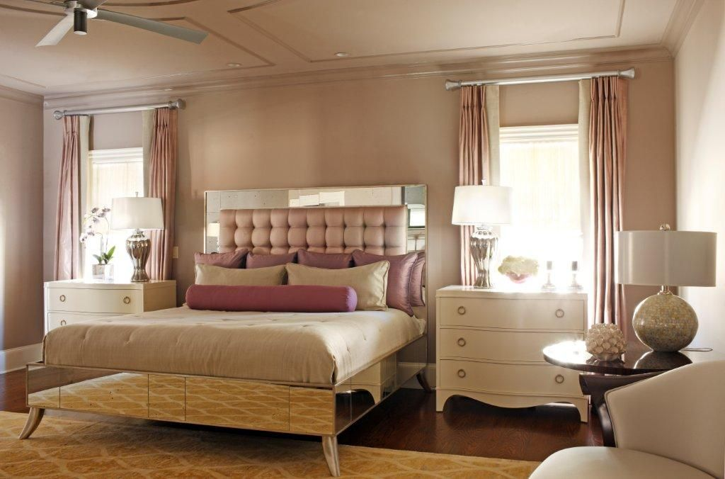 Captivating Art Deco Bedroom Color Scheme, But With Mauve Walls And Gray Headboard