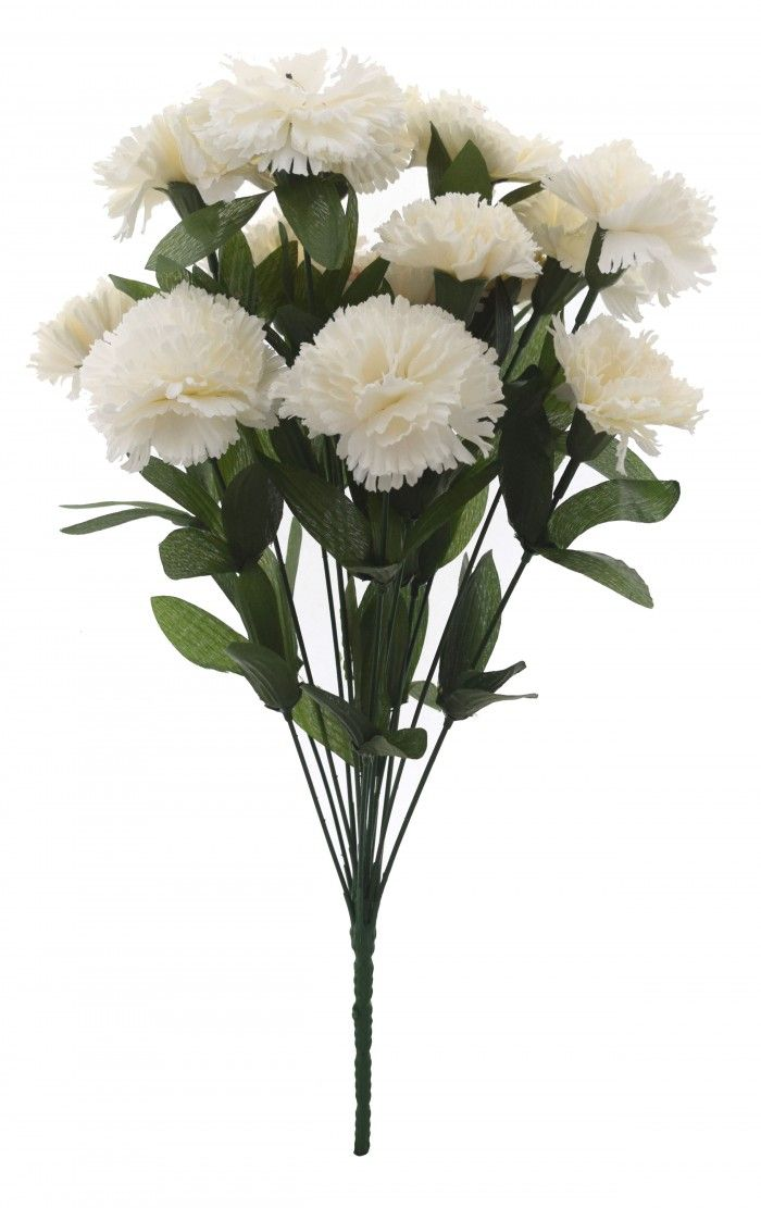 Fourwalls 48 cm tall Artificial Carnation Bunch with 14 flower(White)