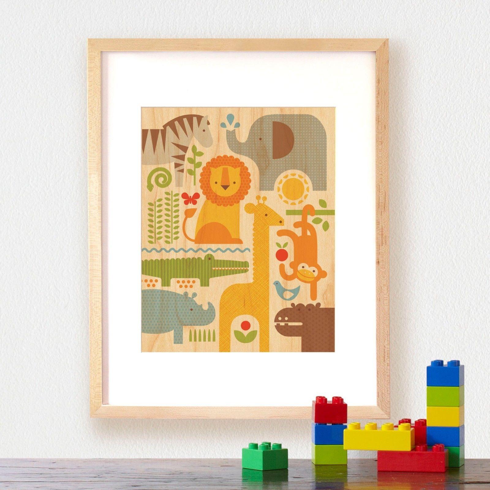 Petit Collage: Large Unframed Print on Wood, Safari Parade   Nursery