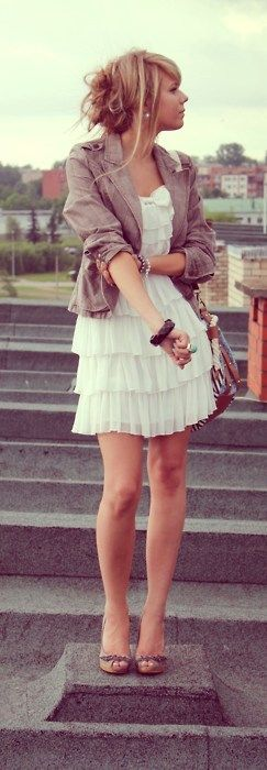 Dress, jacket, braclets, ring, earrings bag, hair, shoes.