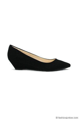 Matte Pointy Toe Kitten Wedge Low Heel Shoes Black Low Heel