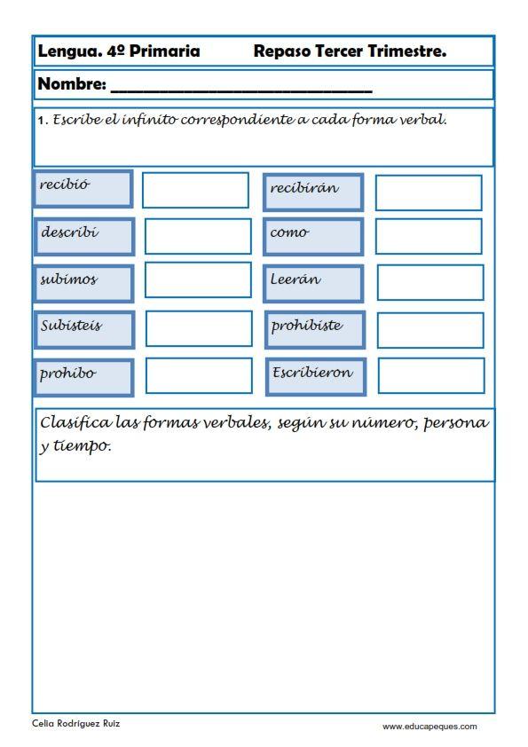 Fichas de ejercicios de Lengua Cuarto Primaria | Tareas | Pinterest ...